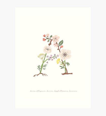 Botanical Letters A Art Print
