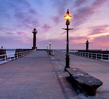 On Whitby Pier at Sunrise by lenscraft
