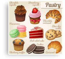 Danish,pastry,french,cookies,macaroons,chocolate croissant, cup cake, food hipster, modern,trendy Canvas Print