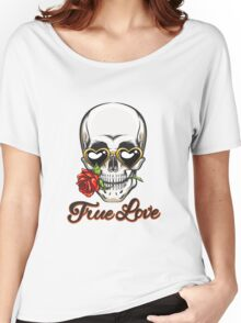 The Skull in Heart Shaped Glasses Women's Relaxed Fit T-Shirt