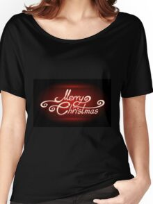 Hand-written Merry Christmas Lettering on Red background Women's Relaxed Fit T-Shirt