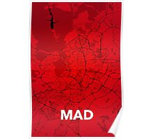 Madrid Red Gradient Poster Poster
