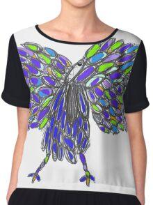 Vibrant Peacock Chiffon Top