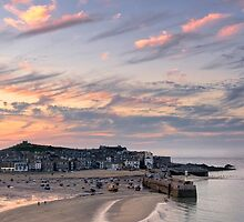 St Ives Harbour Sunset by lenscraft