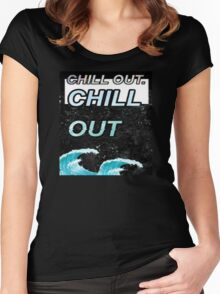 """""""Chill Out"""" Glitch VHS Aesthetic Design Women's Fitted Scoop T-Shirt"""