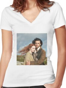 Poldark & Demelza  Women's Fitted V-Neck T-Shirt