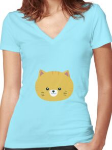 Cute tiger cat with yellow fur Women's Fitted V-Neck T-Shirt