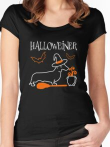 Halloweiner, Funny Halloween Gift For Dachshund Dog Lover Women's Fitted Scoop T-Shirt