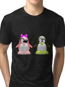 Two Penguins Flirting With Each Other Tri-blend T-Shirt