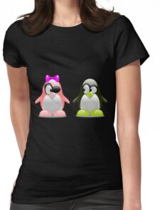 Two Penguins Flirting With Each Other Womens Fitted T-Shirt