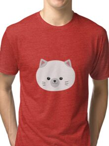 Cute white kitty with gray ears Tri-blend T-Shirt