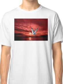 Silver Gull in Orange Red Ocean Sunrise. Classic T-Shirt