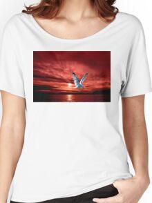 Silver Gull in Orange Red Ocean Sunrise. Women's Relaxed Fit T-Shirt