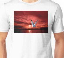 Silver Gull in Orange Red Ocean Sunrise. Unisex T-Shirt