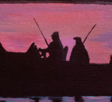 Fishing in the sunset Sticker