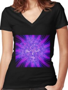 Lavender Flowers in the Sky Women's Fitted V-Neck T-Shirt