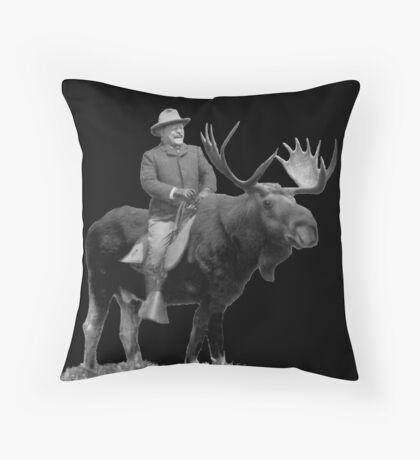 Teddy Roosevelt Riding A Bull Moose Throw Pillow