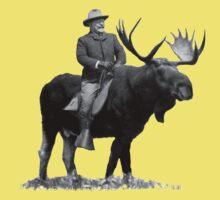 Teddy Roosevelt Riding A Bull Moose Baby Tee