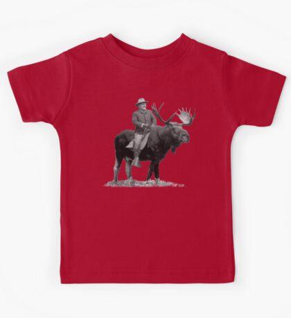Teddy Roosevelt Riding A Bull Moose Kids Tee