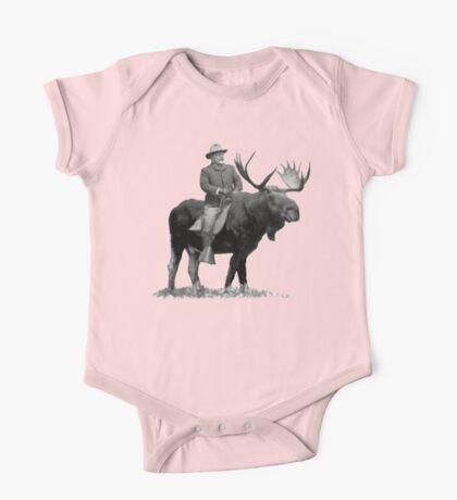Teddy Roosevelt Riding A Bull Moose One Piece - Short Sleeve