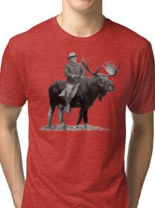 Teddy Roosevelt Riding A Bull Moose Tri-blend T-Shirt