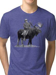 Teddy Roosevelt Riding A Bull Moose Tri-blend T-Shirt
