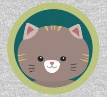 Cute tiger kitty with green circle Kids Tee