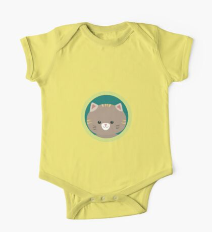 Cute tiger kitty with green circle One Piece - Short Sleeve