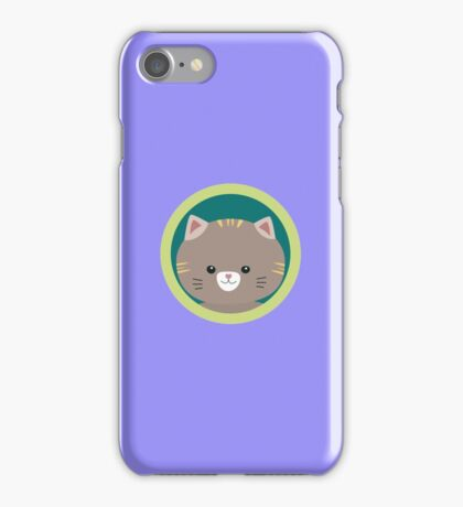Cute tiger kitty with green circle iPhone Case/Skin
