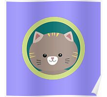 Cute tiger kitty with green circle Poster