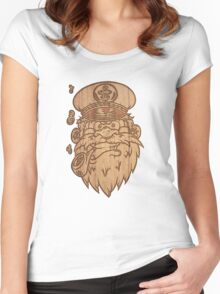 Captain Salty on Wood. Women's Fitted Scoop T-Shirt