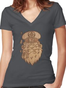 Captain Salty on Wood. Women's Fitted V-Neck T-Shirt