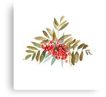 Rowan Berries, Watercolor Canvas Print