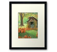 Pumpkin and Cabin Framed Print