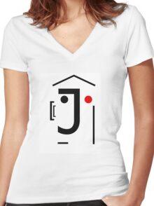 Letter Face_J Women's Fitted V-Neck T-Shirt