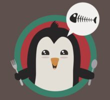Penguin with cutlery and fish One Piece - Short Sleeve