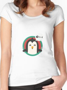 Penguin with cutlery and fish Women's Fitted Scoop T-Shirt