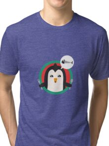 Penguin with cutlery and fish Tri-blend T-Shirt