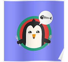 Penguin with cutlery and fish Poster