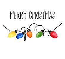 Merry Christmas Lights Watercolor Photographic Print