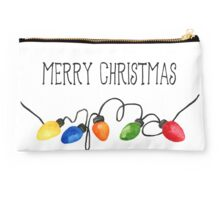 Merry Christmas Lights Watercolor Studio Pouch