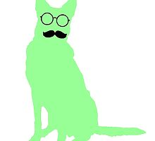 Stache Dog - Light Green by 2woofs-1meow