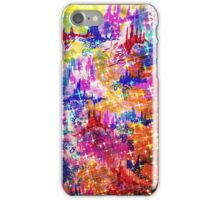 SKY RISERS 1 Colorful Abstract Watercolor Painting Mixed Media Mountains Castles Clouds Stars Sparkle Pattern Fine Art iPhone Case/Skin