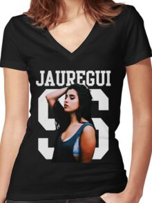 LAUREN JAUREGUI Women's Fitted V-Neck T-Shirt