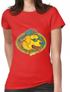 Cool Golden Retriever Dog with Shades and Hat Womens Fitted T-Shirt
