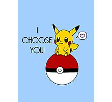 Pokemon Pikachu Valentine's Day Design! (Blue) Photographic Print
