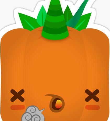 Exhausted Jack O' Lantern Pumpkin Sticker