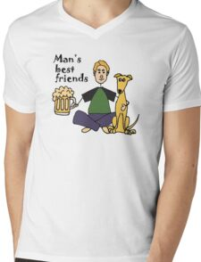 Funny and Col Man's Best Friends Dog and Beer Mens V-Neck T-Shirt