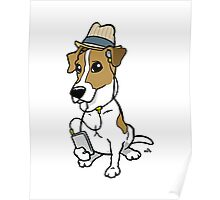 Cartoon Hipster Jack Russell Poster