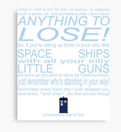The Doctor's Speech at the Pandorica Canvas Print